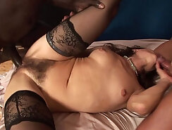 Curvy MILF with a hairy pussy is doing anal after getting fucked