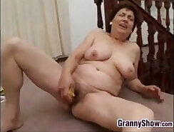 Best granny in stockings and a banana