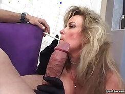 Blonde mature sucks cock & fucks two males