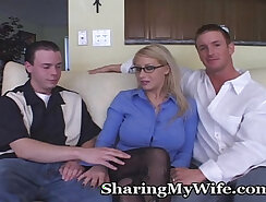 Curly short haired mom operates on employees dick with anallysis