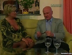 Chubby granny in stockings massager fucking