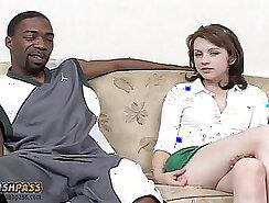 Curvy sub takes big black cock and gets creampie
