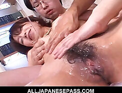Blonde Japanese milf gangbanged by old people