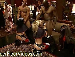 Bored party girls in bdsm fuck gangbang