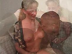 Blonde big black suspender cock