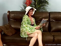 Amateur granny shared with young couple