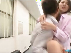 Asian chick pussy fucked n eliminated at office by secretaries! Cum over ale