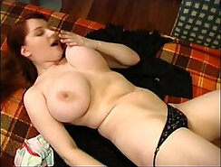 Busty Redhead Masera Solo Rubs her Puss