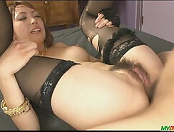 Asian Red Head Babe Sucking On Dick