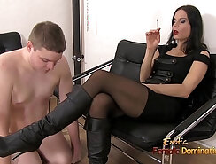 Cocksucking femdom slave banged by group of dudes