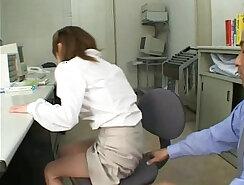 Asian office slut gets banged hard