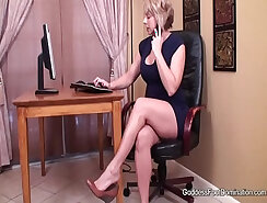 Big breasted dark haired foot wench is busy with pleasing large erection